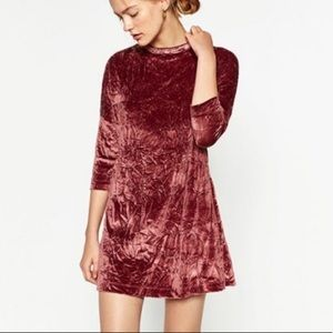 Zara Pink High Neck Crushed Velvet Dress